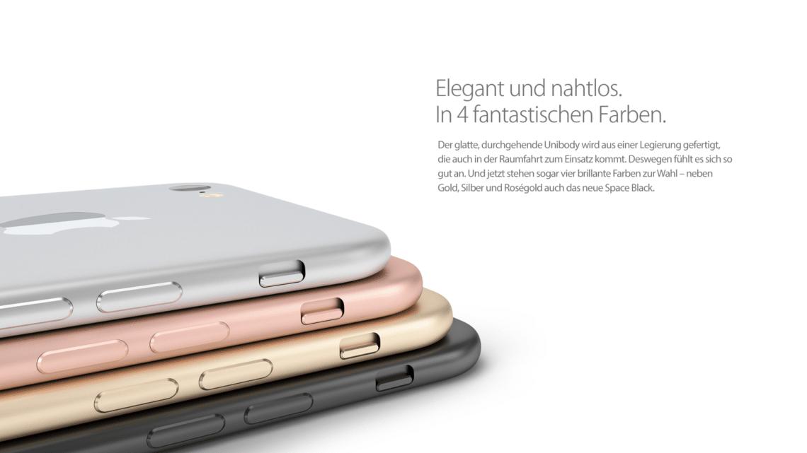 iPhone 7 ohne Antennenstreifen und herausragender Kamera