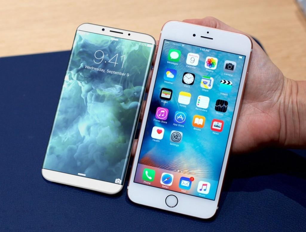 iPhone 8 (links) Konzept neben einem aktuellen iPhone (rechts)