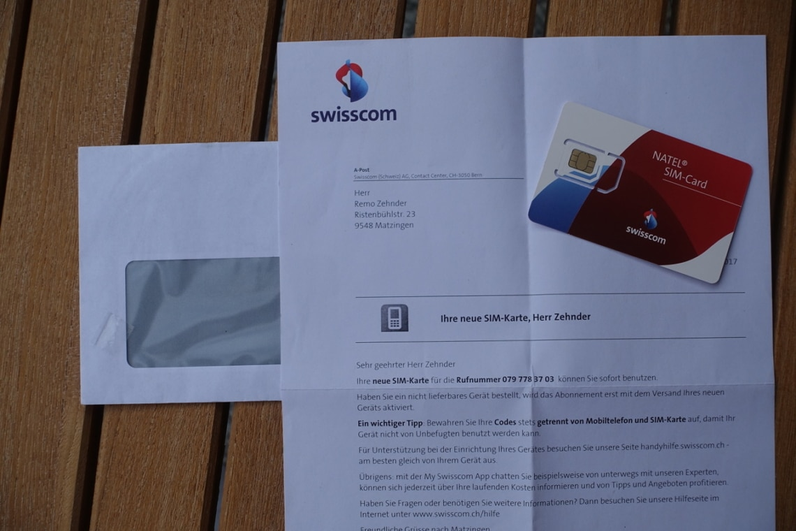 Kartonumschlag von Swisscom