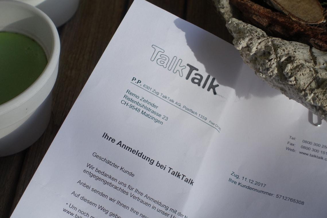 TalkTalk Brief / Schreiben