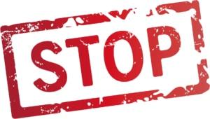 Roter Schriftzug Stop